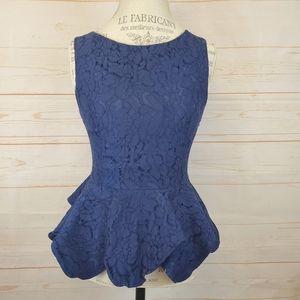 Lulu's Blue Lace Peplum Blouse